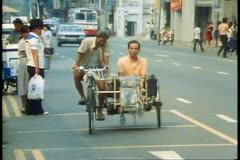 Singapore Pedi cab with sidecar Stock Footage