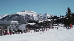 Courchevel 1850 Skiing, France Stock Footage