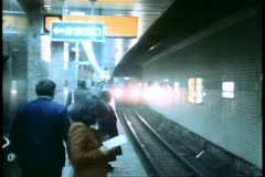 The Tokyo Subway, train arrives Stock Footage
