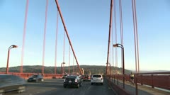 End of the Golden Gate Bridge handheld through sunroof Stock Footage