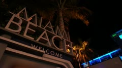 Miami Beach Sign Time Lapse HD Stock Footage