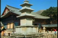 The Buddha Land Temple of Bulguska, stone pagoda, in South Korea near Pusan Stock Footage