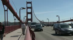 Wide shot from the rail on the Golden Gate Bridge Stock Footage