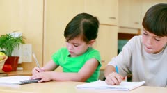 Stock Video Footage of Serious siblings doing their homework