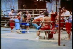 Thai kick boxing in Bangkok Stock Footage