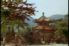 The New Territories, Hong Kong, a temple and pagoda Stock Footage