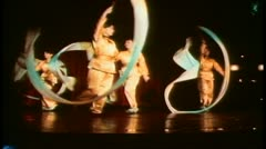 Hong Kong cultural show, ribbon dancers Stock Footage