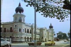 Kuala Lumpar, Victorian mosque like buildings Stock Footage