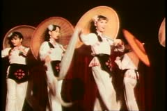 Stock Video Footage of Hong Kong cultural show, parasol dancers