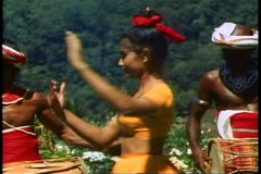 Kandyian Dancers of Sri Lanka, the women perform unusual movements Stock Footage