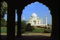 Stock Video Footage of The Taj Mahal, Agra, India, framed in a scalloped archway