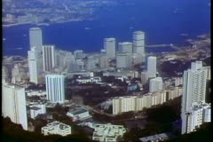 Hong Kong skyline and harbor from Victoria Peak 1984 Stock Footage