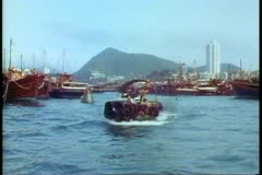 Aberdeen, the floating city, Hong Kong Island, the boat people, POV Stock Footage
