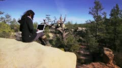 Girl working in nature Stock Footage
