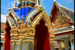 The Royal Palace of Bangkok, a gold and blue spire Stock Footage