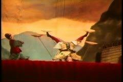 Hong Kong cultural show, stick puppet show, four spinning plates Stock Footage