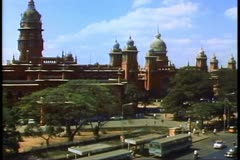 Madras, India, wide establishing shot with railroad station - stock footage
