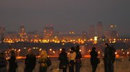 Stock Video Footage of The night city landscape - lights, traffic, people and other...