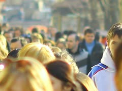 The people crowds. strong zoom Stock Footage