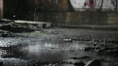 Water drops on concrete 3 Stock Footage