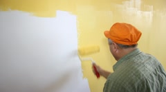 Painter in action - stock footage