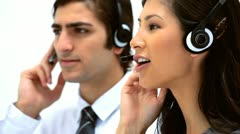 Business people using headsets Stock Footage