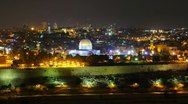 Stock Video Footage of Skyline of Jerusalem Dome of the Rock at night time lapse pan