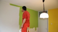 Painter in action Stock Footage