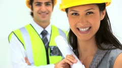 Two business people with safety helmet Stock Footage