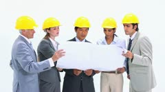 Business team wearing safety helmet Stock Footage