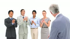 Business team applauding its boss - stock footage