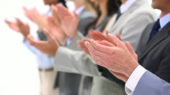 Close-up of hands applauding - stock footage