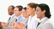 Business people applauding Stock Footage