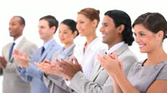 People in suits are applauding - stock footage