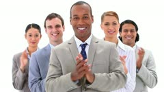 Business people applauding while standing - stock footage
