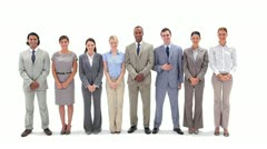 Business people standing in a line applauding - stock footage