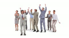 Group of business people jumping with money falling from the air Stock Footage