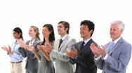 Business people standing side by side applauding Stock Footage