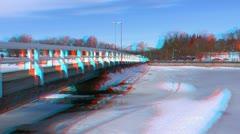 Stereoscopic 3D Helsinki 20 - wooden bridge in downtown - stock footage