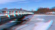 Stereoscopic 3D Helsinki 20 - wooden bridge in downtown Stock Footage