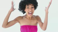 Woman with frizzy hair shouting Stock Footage