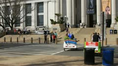 Smithsonian Institution National Museum of Natural History Pedicab moves out Stock Footage