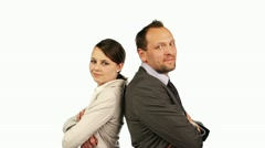 Portrait of  business couple with crossed hands, isolated Stock Footage