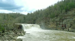 Cumberland Falls Establishing Shot 1 HD Flood Stage Long Stock Footage