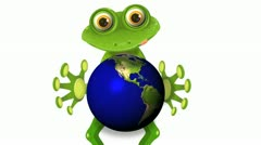frog and globe - stock footage