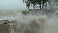 Storm Surge Waves Crash Towards Camera During Tropical Storm - stock footage