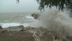 Storm Surge Waves Crash Towards Camera During Tropical Storm Stock Footage
