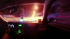 Driving in night city timelapse view from car cabin. Full HD. Stock Footage