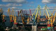 Stock Video Footage of Odessa sea trading port activity timelapse. Pan from left to right. (Full HD)