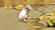 Stock Video Footage of baby play with sand